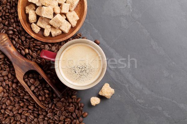 Tazza di caffè fagioli zucchero di canna pietra tavola top Foto d'archivio © karandaev