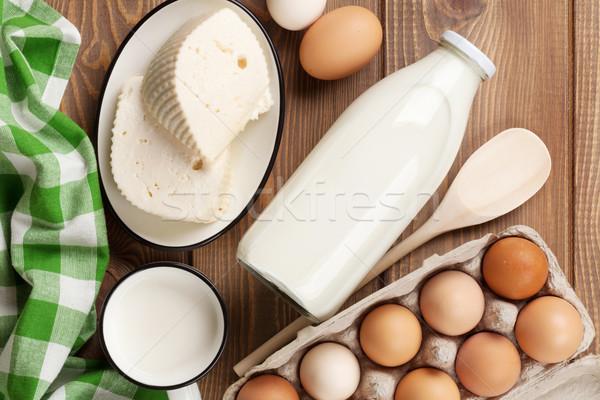 Milk, cheese and eggs Stock photo © karandaev