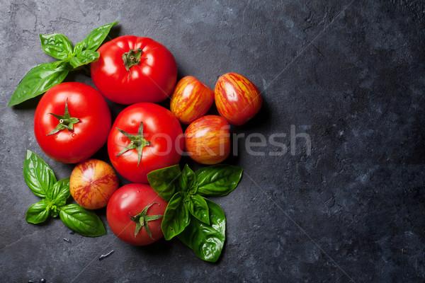 свежие зрелый саду помидоров базилик каменные Сток-фото © karandaev