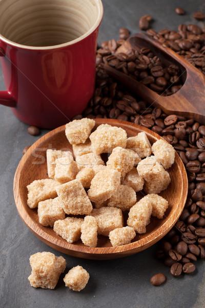 Kahve fincanı fasulye esmer şeker taş tablo gıda Stok fotoğraf © karandaev