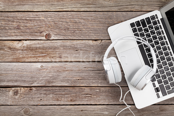 Headphones and laptop Stock photo © karandaev