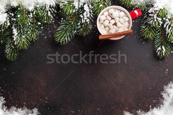 Stock fotó: Karácsony · fenyőfa · forró · csokoládé · mályvacukor · felső · kilátás