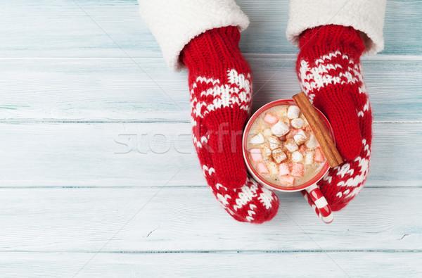 Női kezek tart forró csokoládé mályvacukor fölött Stock fotó © karandaev