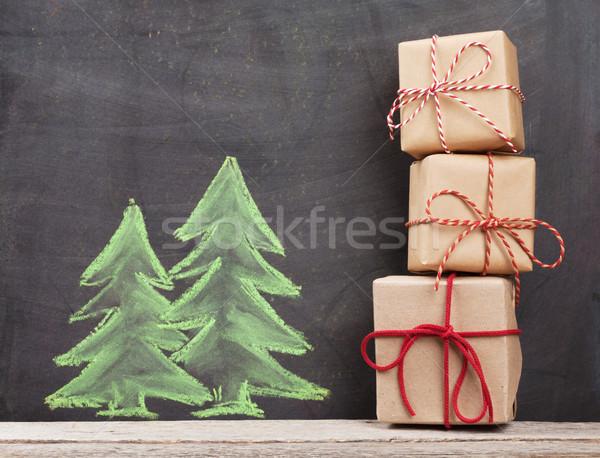 Stock fotó: Karácsony · ajándékdobozok · kézzel · rajzolt · fenyőfa · karácsony · papír