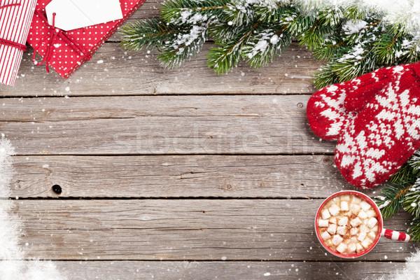 Natal caixas de presente chocolate quente marshmallow topo Foto stock © karandaev