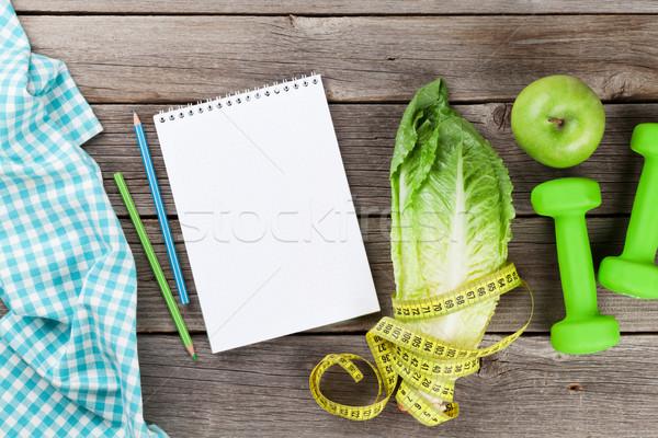 Zdrowa żywność fitness górę widoku kopia przestrzeń ciało Zdjęcia stock © karandaev