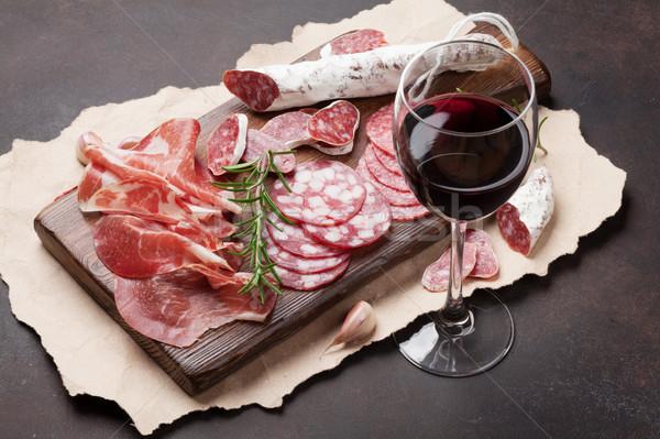 Salami, ham, sausage, prosciutto and wine Stock photo © karandaev