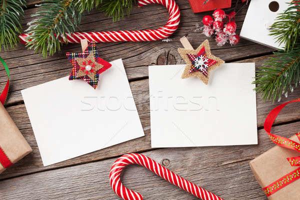 Christmas blank photo frames, decor and fir tree Stock photo © karandaev
