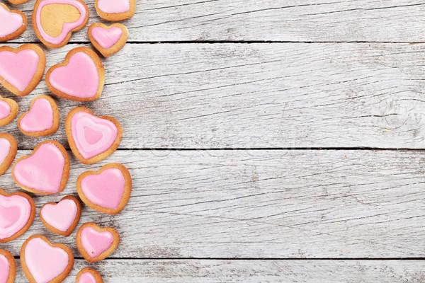 Foto stock: Día · de · san · valentín · tarjeta · de · felicitación · cookies · corazón · pan · de · jengibre