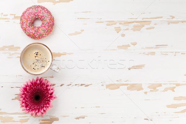 Сток-фото: кофе · цветы · деревянный · стол · Top · мнение