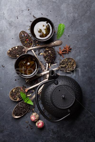 Thee lepels theepot zwarte groene Stockfoto © karandaev