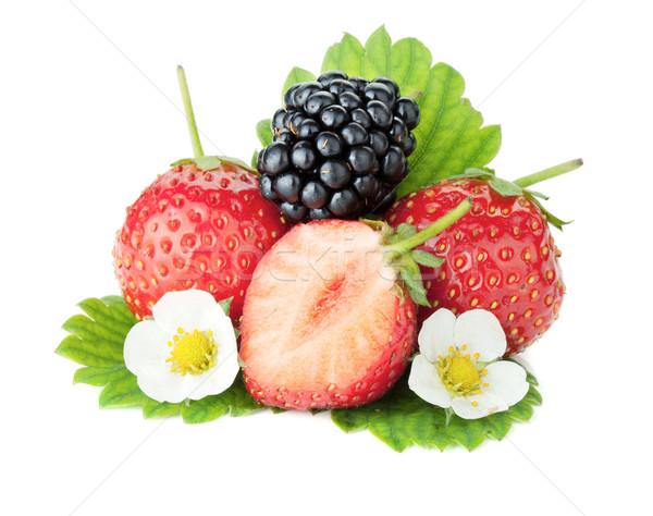 Strawberry and blackberry fruits Stock photo © karandaev