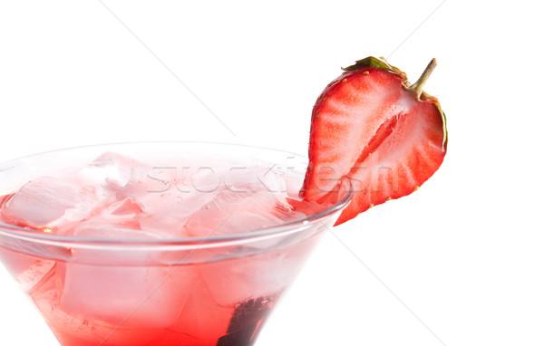 Stockfoto: Aardbei · alcohol · cocktail · geïsoleerd · witte · wijn