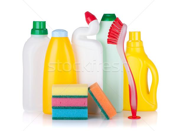 Zdjęcia stock: Plastikowe · butelek · produktów · czyszczących · szczotki · odizolowany · biały