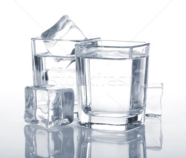 ウォッカ アイスキューブ 青 パーティ ガラス 背景 ストックフォト © karandaev