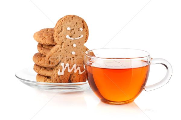 Verre tasse noir thé maison cookies Photo stock © karandaev