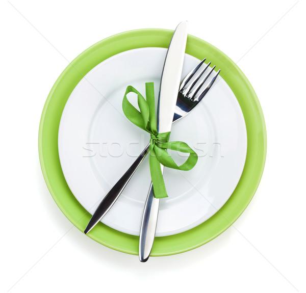 Stockfoto: Vork · mes · platen · geïsoleerd · witte · voedsel