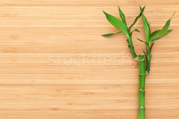 Stockfoto: Bamboe · plant · houten · tafel · exemplaar · ruimte · voedsel · achtergrond