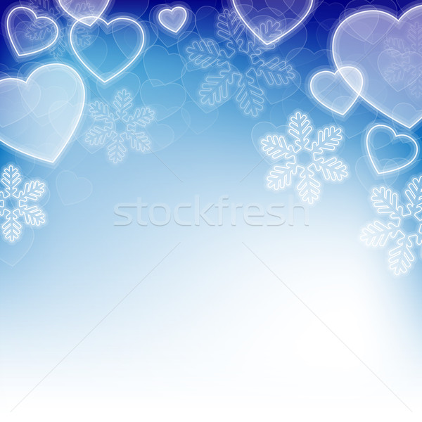 Winter holiday background with snowflakes and heart shapes Stock photo © karandaev