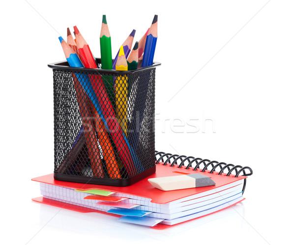 Colorful pencils and notepad Stock photo © karandaev