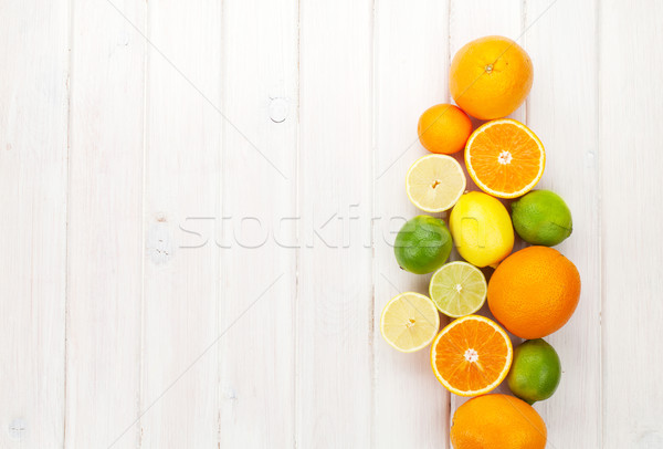 Citrus fruits. Oranges; limes and lemons Stock photo © karandaev