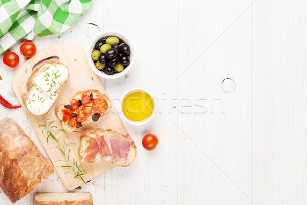 брускетта сыра помидоров прошутто разделочная доска Top Сток-фото © karandaev