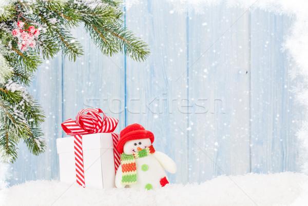 Weihnachten Geschenkbox Schneemann Spielzeug Zweig Stock foto © karandaev