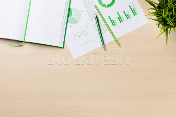 Office desk workplace with charts, plant and notepad Stock photo © karandaev