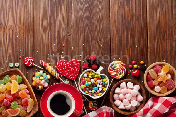 Café coloré bonbons gelée bois haut Photo stock © karandaev