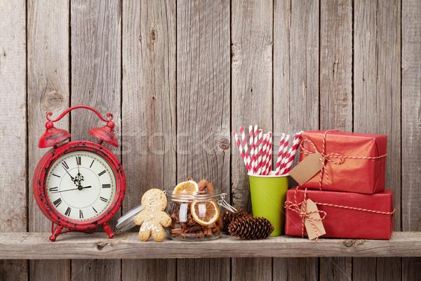 Christmas wekker voedsel houten Stockfoto © karandaev