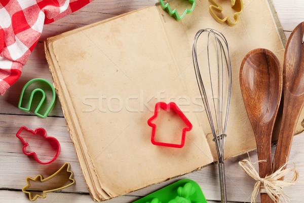 Cook book and utensils Stock photo © karandaev