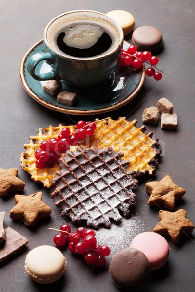 Zdjęcia stock: Kawy · słodycze · kamień · tabeli · żywności · czekolady