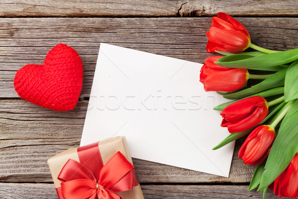 Red tulips, gift box and Valentine's day greeting card Stock photo © karandaev