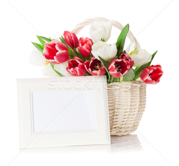 Colorful tulips and photo frame Stock photo © karandaev