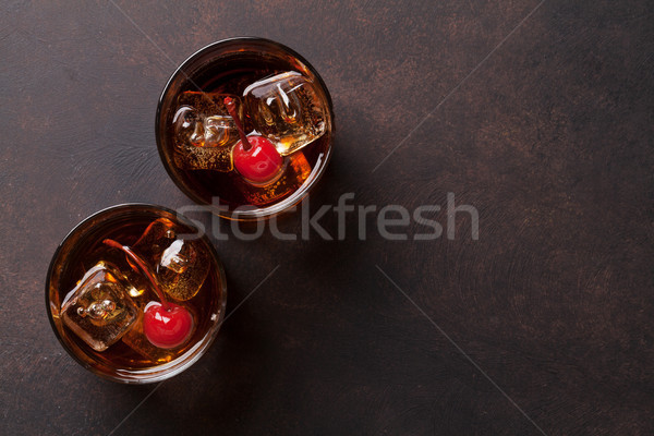 Manhattan cocktail whiskey top exemplaar ruimte Stockfoto © karandaev
