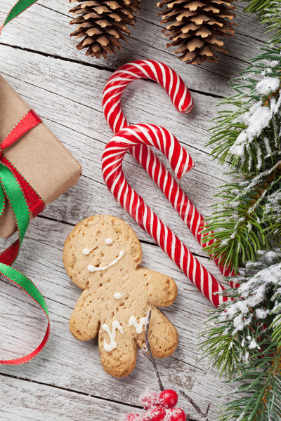 Noël cadeau bonbons canne gingerbread man coffret cadeau Photo stock © karandaev