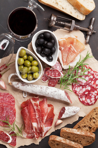 Salami, sausage, prosciutto and wine Stock photo © karandaev