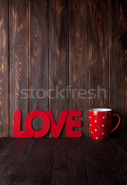 Valentines day greeting card with hot drink cup Stock photo © karandaev