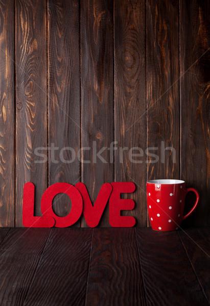 San valentino biglietto d'auguri bevanda calda Cup amore parola Foto d'archivio © karandaev
