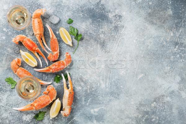 Owoce morza białe wino homara górę widoku Zdjęcia stock © karandaev