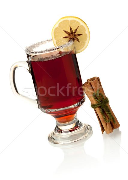 Hot mulled wine with lemon slice and cinnamon Stock photo © karandaev