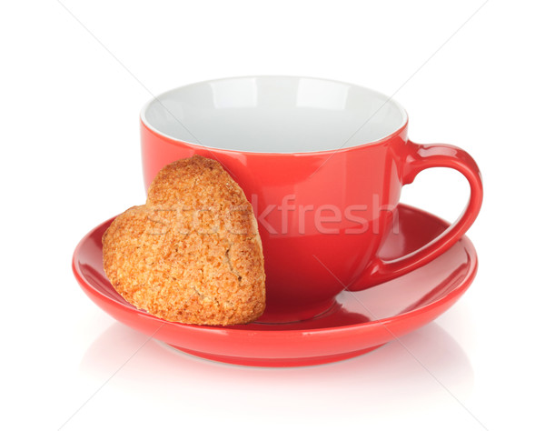 Red coffee cup and heart shaped cookie Stock photo © karandaev