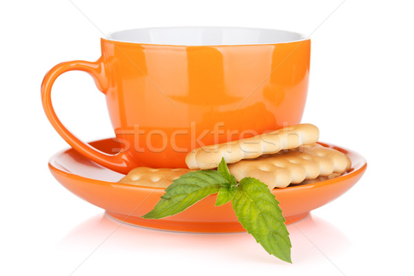 Cup of drink with crackers and mint Stock photo © karandaev