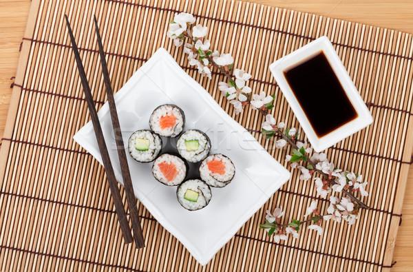 Sushi conjunto fresco sakura ramo bambu Foto stock © karandaev