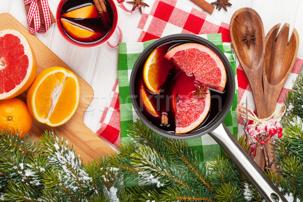 Noel şarap ahşap masa gıda kar Stok fotoğraf © karandaev