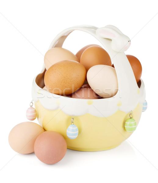 Paskalya yumurtası sepet yalıtılmış beyaz Paskalya mutlu Stok fotoğraf © karandaev