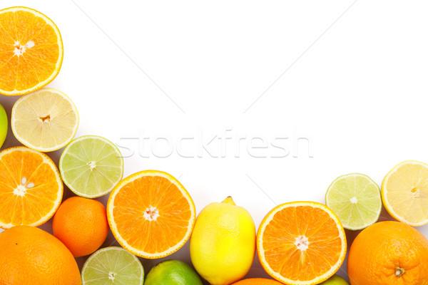 Citrus gyümölcsök narancsok citromok izolált fehér Stock fotó © karandaev