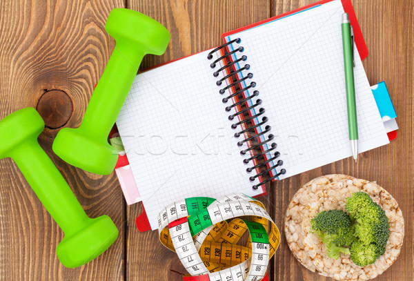 рулетка здоровое питание блокнот копия пространства фитнес здоровья Сток-фото © karandaev