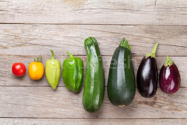 Stok fotoğraf: Taze · çiftçiler · bahçe · sebze · renkli · ahşap · masa