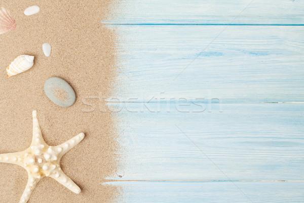 Stok fotoğraf: Deniz · kum · denizyıldızı · kabukları · ahşap · masa · üst